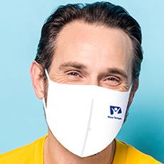 Máscara Dupla Face Reutilizável  Anatômica Branca