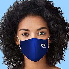 Máscara Dupla Face Reutilizável  Anatômica Azul Marinho