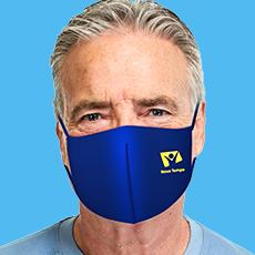 Máscara Dupla Face Reutilizável  Anatômica Azul  Logo Amarelo