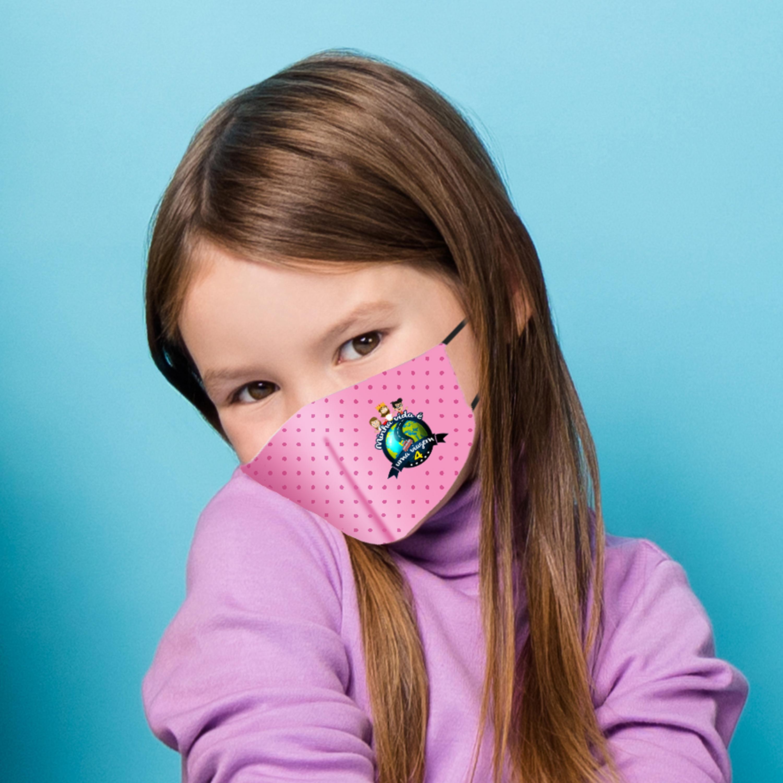 Máscara Dupla Face Reutilizável Anatômica Infantil Rosa