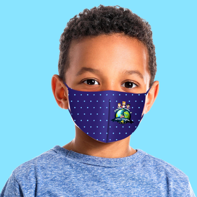 Máscara Dupla Face Reutilizável Anatômica Infantil Azul